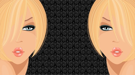 Fashion illustration with blonde girls  Vector