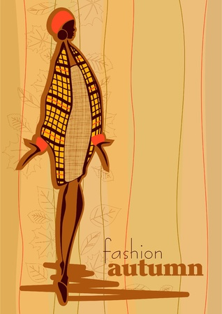 Ilustracja wektorowa fotografii: modne dziewczyny. Jesień.