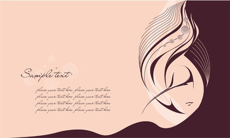 Abstract girl with long hair. Place for your text. Vector illustration