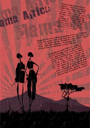 Vector hermoso fondo con ilustración de África las mujeres abstractas