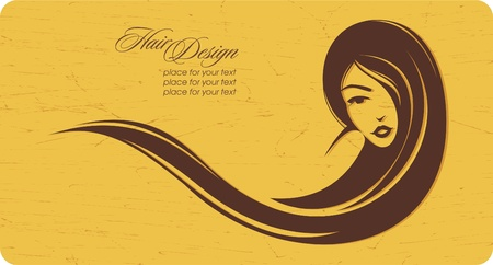 girl with long hair: Vintage girl with long hair. Place for your text. Vector illustration