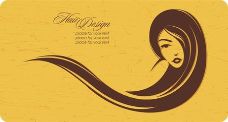 ladenkast: Vintage meisje met lang haar. Plaats voor uw tekst. Vector illustratie Stock Illustratie