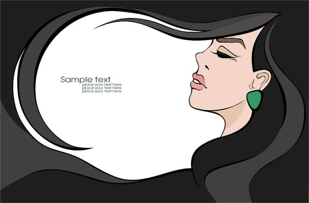 Beautiful sexy woman with dark hair. Place for your text. Vector illustration Stock Vector - 10783752