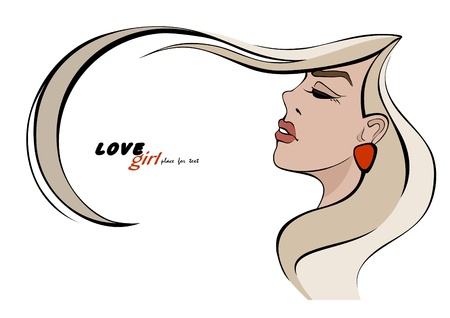 Girl with long hair. Place for your text. Vector illustration  Vector