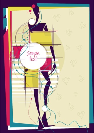 squeak: Abstract girl in bright fashion background. Place for your text. Vector illustration.  Illustration