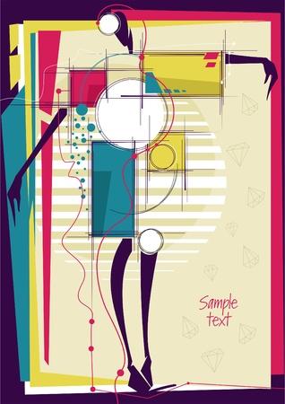 Zusammenfassung Mädchen in hellen Hintergrund Mode. Platz für Ihren Text. Vektor-Illustration.