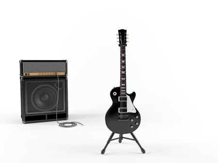 headstock: Electric guitar and combo guitar amplifier with speaker cabinet isolated on the white background