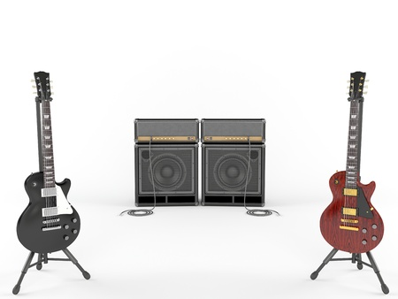 guitar tuner: Electric guitars and combo guitar amplifier with speaker cabinets isolated on the white background  Stock Photo