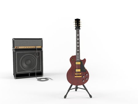 guitar tuner: Electric guitar and combo guitar amplifier with speaker cabinet isolated on the white background