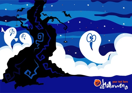 Vector Halloween card with ghosts.  Vector