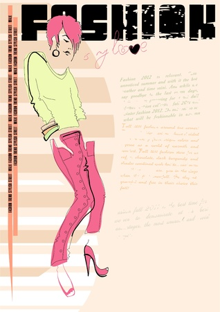 shocking: Fashion illustration. Casual girl. Vector. Place for your text