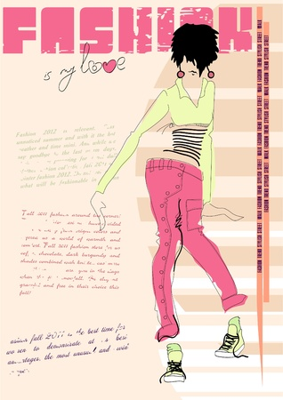 fashion portrait: Fashion illustration of a casual girl, with a place for your text