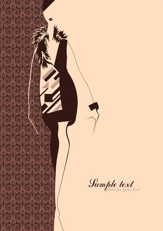 fashion design sketch: Fashion Illustration. Silhouette of a girl. Place for your text.