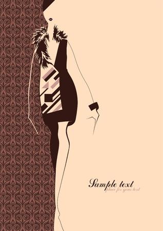 Ilustracja mody. Sylwetka dziewczyny. Umieść na tekst. Ilustracja