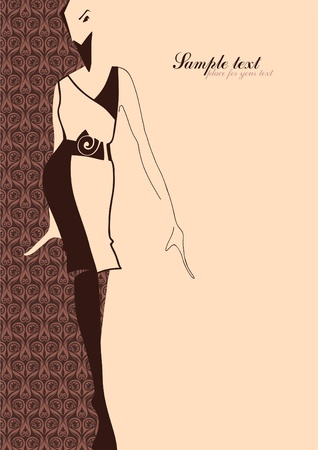 tendencja: Fashion Illustration. Sylwetka dziewczyny. Miejsce na tekst. Ilustracja