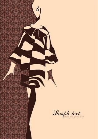 bocetos de personas: Ilustraci�n de moda. Silueta de una chica. Lugar para el texto.