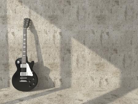 汚れたコンクリート壁の背景のエレク トリック ギター