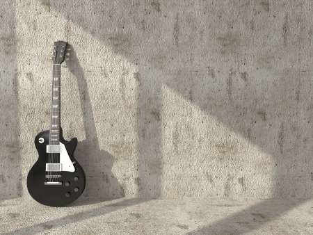 Electric guitar on the background of grungy concrete wall  photo