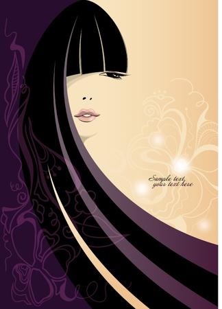 Piękna dziewczyna z długimi włosami. Miejsce na tekst. Ilustracja