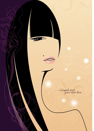 Beautiful girl with long hair. Place for your text. Stock Vector - 11194671