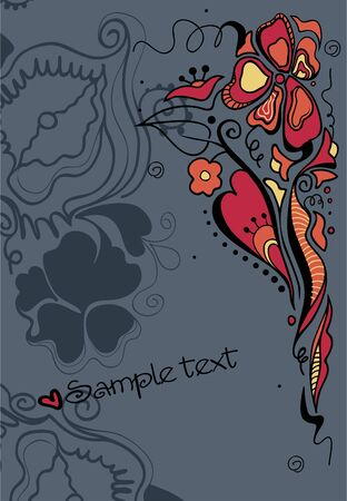 Floral illustration of fantasy flowers. Place for your text.  Vector