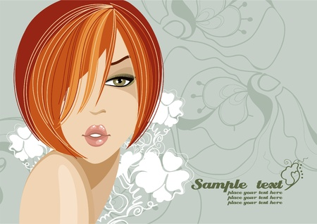 A beautiful girl with red hair to a light green background. Place for your text.  Vector