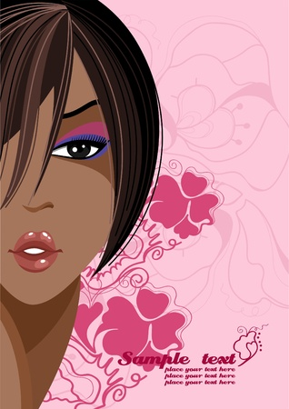 Portrait of a black girl with bright makeup. Place for your text  Vector