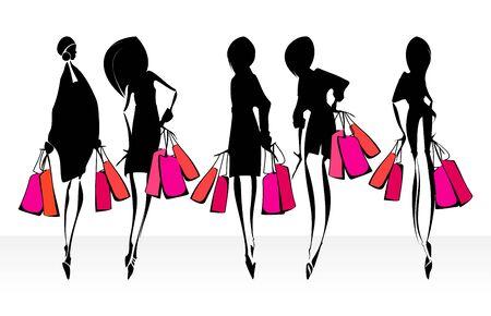 Winkelen meisjes silhouetten. Eps10