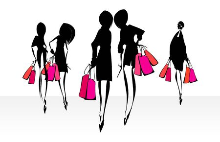 area sexy: Shopping girls silhouettes. Eps10