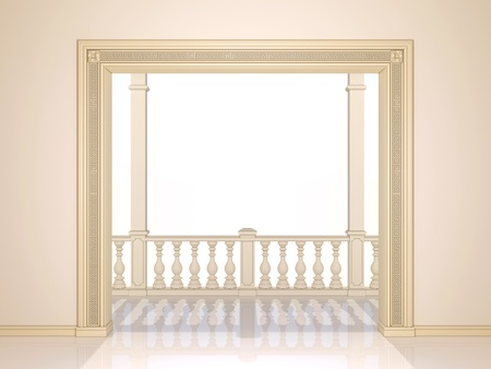 light columns: A classic Portal and a balcony with a colonnade.  Stock Photo