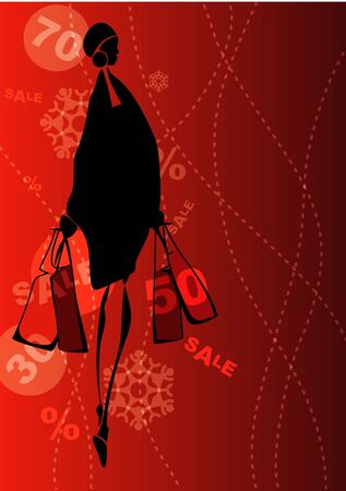 Shopping girl on the sale background. Eps10  Vector