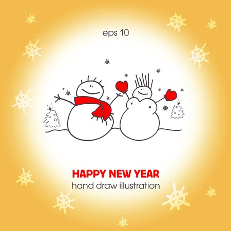 Funny a couple of snowmen. Christmas illustration. EPS10  Vector