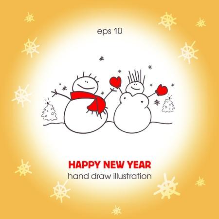 Funny a couple of snowmen. Christmas illustration. EPS10 Stock Vector - 11538440