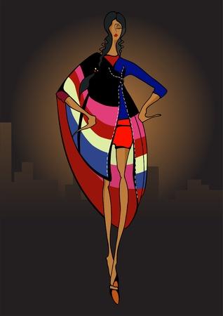 Beautiful latin girl. Fashion Illustration. Eps10  Vector