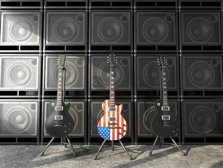 amp: Three guitars a US-style, two black