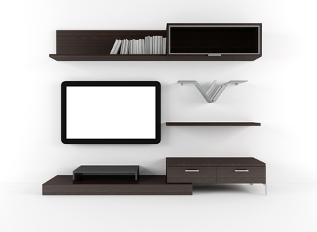 Living room with cabinet shelves and lcd tv  Stock Photo
