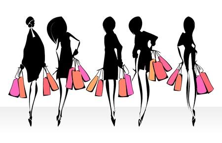 fashion silhouette: Fashion illustration. Shopping.