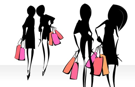 Fashion illustration. Shopping.  Vector