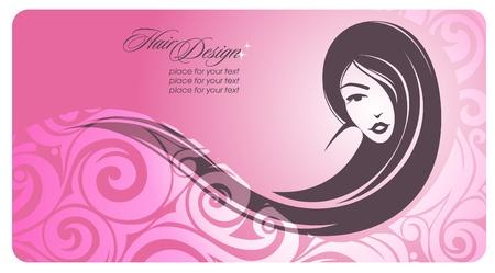 f�minit�: Longue fille aux cheveux. Vector illustration. Eps10