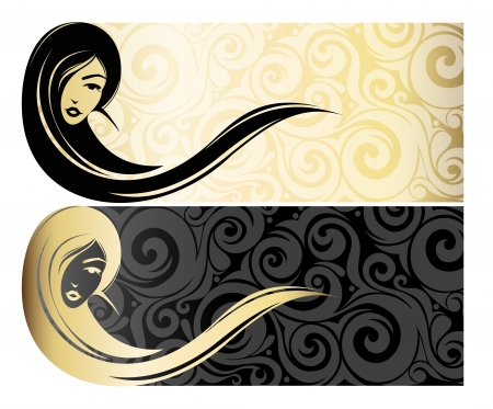 Golg girl with long hair   Fashion illustration   Vector