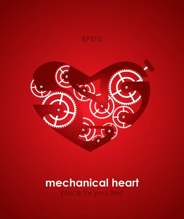 Valentines Day Card. Mechanical heart. Eps10 Vector