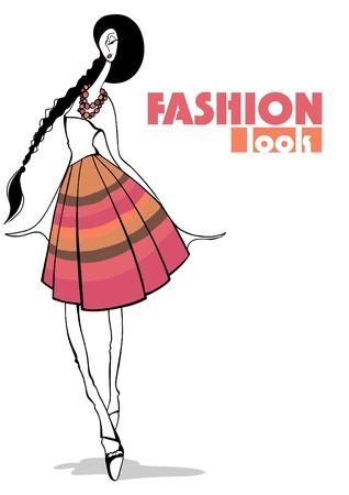 Fashion Illustration. Stylish girl Stock Vector - 12002653