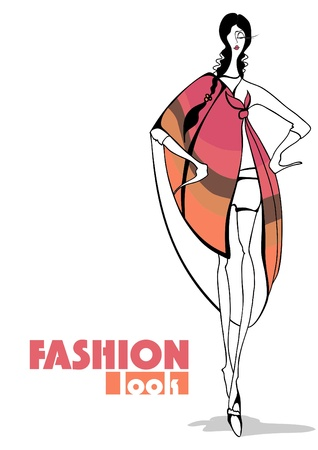 Fashion Illustration. Stylish girl  Stock Vector - 12002652