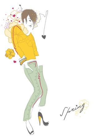 Spring fashion girl. illustration Stock Vector - 12196715