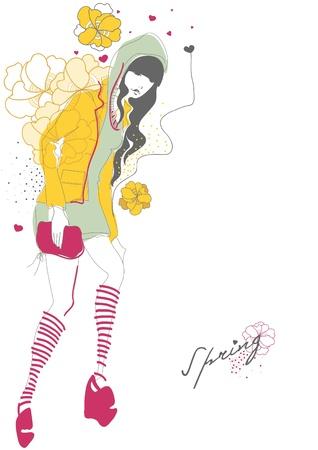 elation: Spring fashion girl. illustration