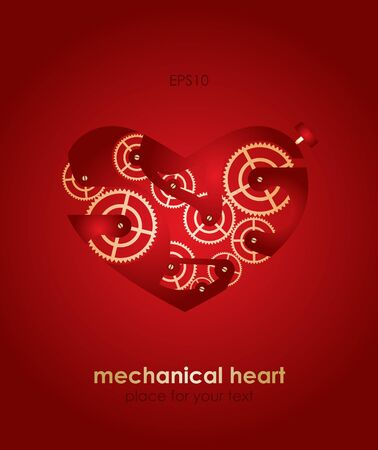 Mechanical Valentine heart. Valentine Vector