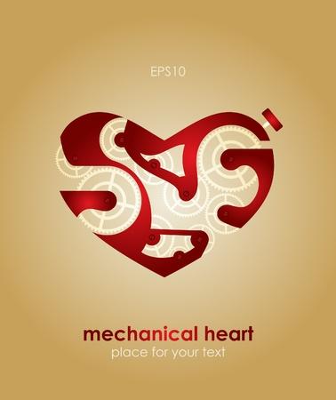 Mechanical Valentine heart. Valentine Vector