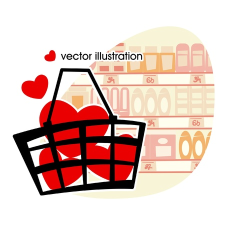 Market basket filled with red hearts.  illustration  Vector