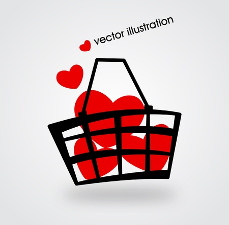 gift bag: Market basket filled with red hearts.  illustration. Illustration