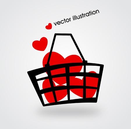 Markt Korb mit roten Herzen gefüllt. Illustration.
